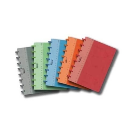 Set of 5 ADOC Lin-Ex A5 Notebook Feint, 2x green, 2x red, 1x blue