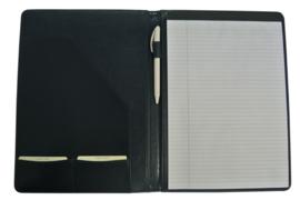 Schrijfmap Leer A4 donkerblauw met schrijfblok
