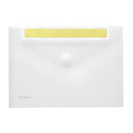 Pak van 10 x Enveloptas A5 Transparant met schrijfstrook + klittenbandsluiting