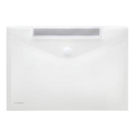 Pak van 10 x Enveloptas A4 Transparant met schrijfstrook + klittenbandsluiting
