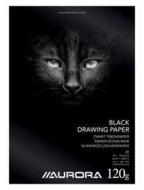 Pak van 15 x Tekenblok A4, zwart papier BL43