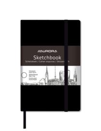 Pak van 10 xTeken/Schetsboek A5 zwart, met blanco papier en elastiek 8048Z