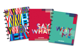 Set of 3 ADOC SAY WHAT Notebook A5, feint