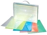 Box met 25 x Enveloptas A4 assorti kleuren met klittenbandsluiting