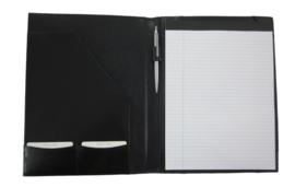 Schrijfmap Leer A4 zwart met schrijfblok
