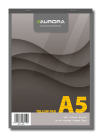 Pack of 5 x Superior Yellow Notepad A5, stapled on top + linen strip