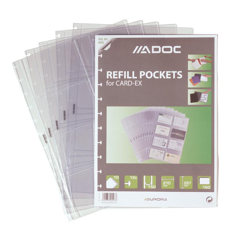 ADOC Card-Ex Standaard A4 Navulling/Refill Visitekaarthoesjes voor 160 visitekaartjes