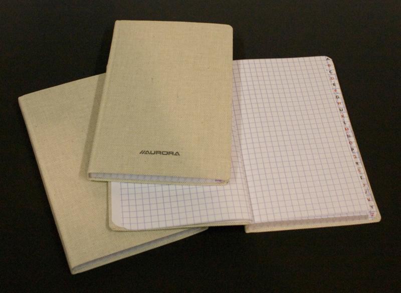 Linnen Studentboeken, dik,  R23196SQ5, geruit, 145 x 220 mm, met alphabet