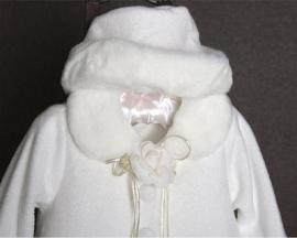 Schattige Ivoor Fleece Jas met Faux Fur Trim & Matching Hat