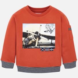 Mayoral, oranje sweater met vliegtuig