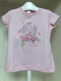 Monnalisa, roze shirt met vogelhuisje