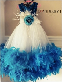 """""""Beautiful Blue""""...A Gorgeous Ankle Length Feather Gown"""