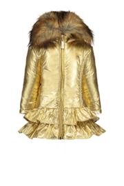 Le Chic, gouden winterjas met ruffles