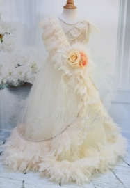 Champagne & Creams Girls Feather Dress