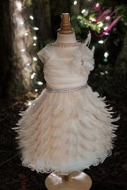 Ethereal Elegance Girls Feather Apron Dress