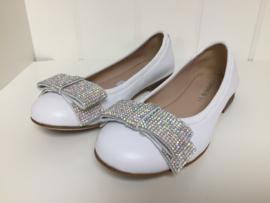 Florens, witte ballerina's met strass strik