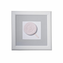 Caramella, grijs schilderij met lollypop