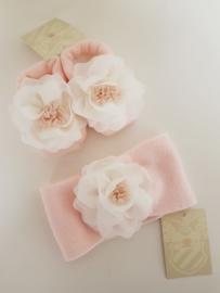 La Perla, roze  haarband met sokjes met chiffon bloem