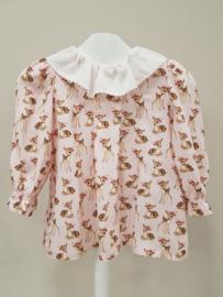 Monnalisa, roze blouse met Bambi's