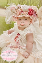 Precious Angelic Baby Dress and Stunning Mop Hat