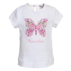 Monnalisa, wit shirt met vlinder