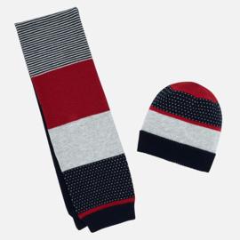 Mayoral, blauw/rode/grijze muts en shawl