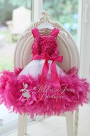 Fushia Pink Girls Rosette Feather Dress