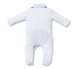 First, licht blauw babypakje met beer