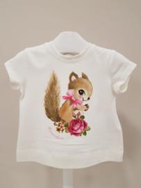 Monnalisa, creme t-shirt met eekhoorn