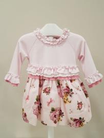 Monnalisa, roze jurk met roosjes