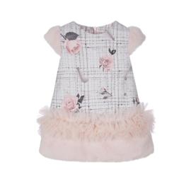 Lapin House, roze jurk met ruffle en bontje