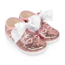 Monnalisa, glitter sandalen met strik