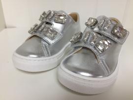 Blumarine, zilveren sneakers met strass