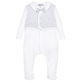 Aletta, wit/grijs babypakje