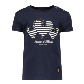 Le Chic, donkerblauwe shirt met hartjes
