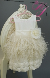 Ostrich Feather Apron Surprise Flower Girl Dress