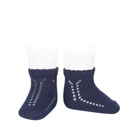 Condor, opengewerkte donkerblauwe sokjes