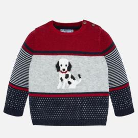 Mayoral, rood/blauwe trui met hond