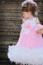 Pink Puffy Feathered Dress