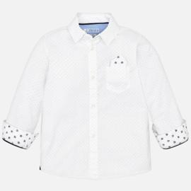 Mayoral, witte blouse met beige stipjes