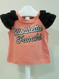 Elisabetta Franchi, koraal/zwart shirtje
