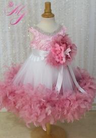 Dusty Rose Jeweled Flower Girl Dress