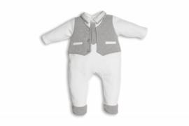 First, wit/grijs babypakje met giletje