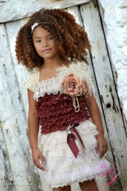 Premiere Lace Girls Skirt &Top with a Hint of Ostrich