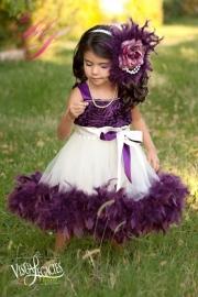 Plum Devine Girls Rosette Fluffy Dress