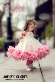Classic Fluffy Feather Rosette Dress