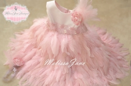So Pure Pink Full Feather Baby Dress