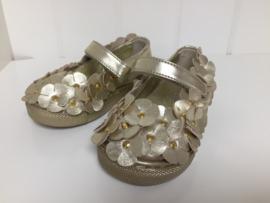 Florens, gouden schoenen met bloemetjes