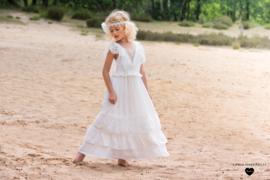 Linea Raffaelli, off white jurk Ibiza