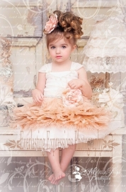 Blushing Blush Girls Feather Apron Dress